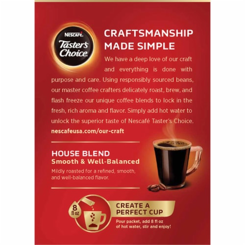 Nescafe Taster's Choice House Blend Instant Coffee Packets Perspective: back