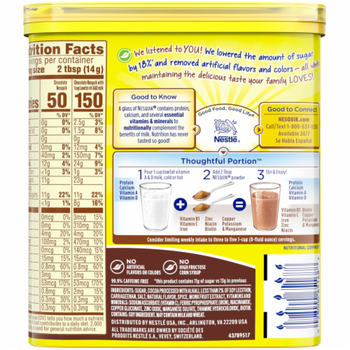 Nesquik Chocolate Flavored Powder Mix Perspective: back