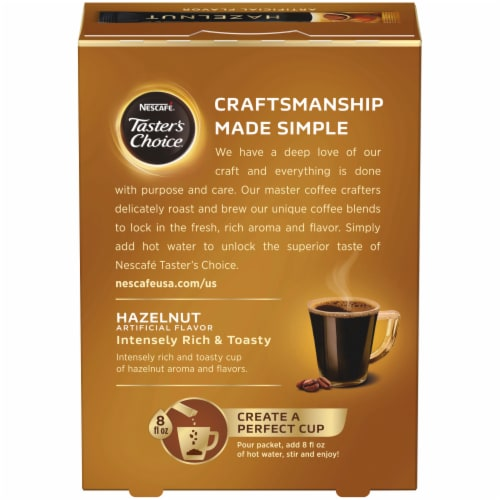 Nescafe Taster's Choice Hazelnut Instant Coffee Packets Perspective: back