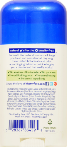 Kiss My Face Fragrance Free Active Life Deodorant Stick Perspective: back
