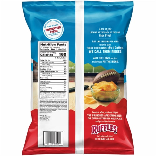 Ruffles Potato Chips Cheddar & Sour Cream Flavor Party Size Snack Perspective: back