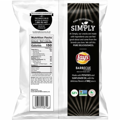 Lay's Simply Barbecue Flavored Thick Cut Potato Chips Perspective: back