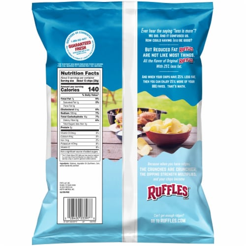 Ruffles Reduced Fat Potato Chips Perspective: back