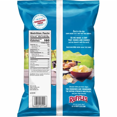 Ruffles Potato Chips Original Flavor Snacks Perspective: back