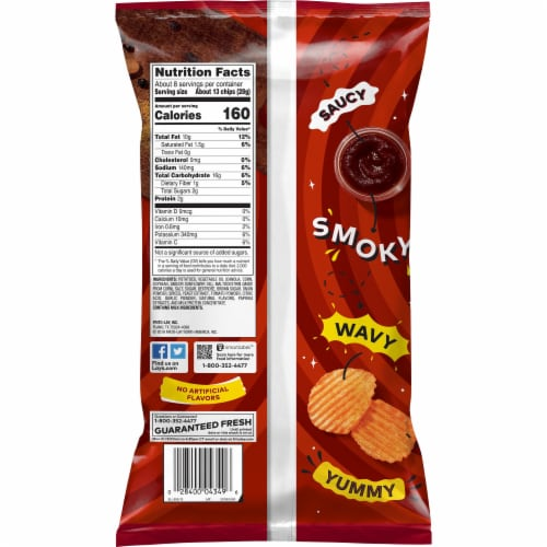 Lay's® Wavy Potato Chips Barbecue Flavor Snacks Bag Perspective: back