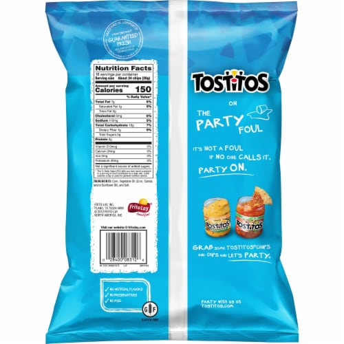 Tostitos Bite Size Rounds Tortilla Chips Party Size Snacks 18 oz Perspective: back