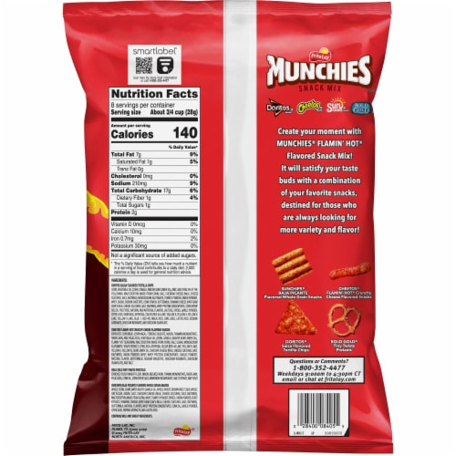 Munchies Flamin' Hot Flavored Spicy Snacks & Chips Mix Perspective: back