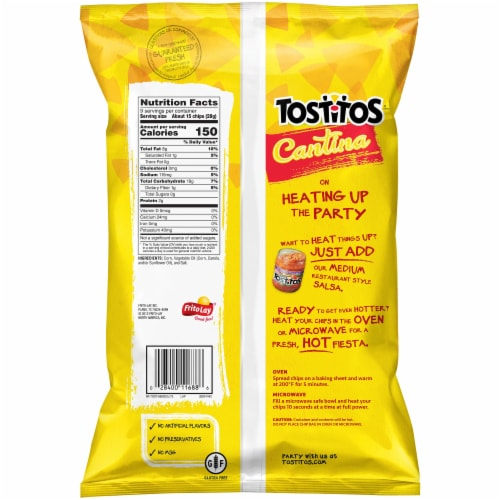 Tostitos Cantina Thin & Crispy Tortilla Chips Snacks Perspective: back