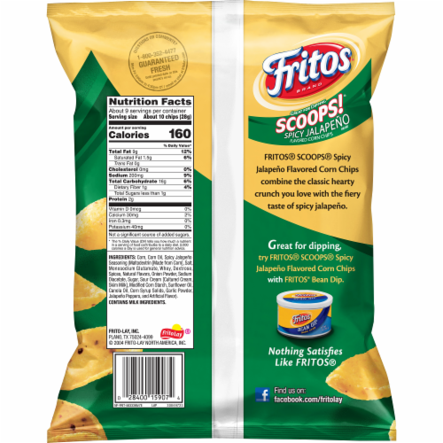 Fritos Scoops! Jalapeno Flavored Corn Chips Perspective: back