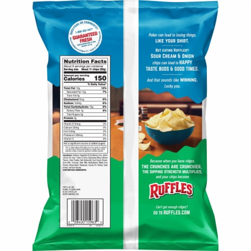 Ruffles Sour Cream & Onion Flavor Potato Chips Perspective: back