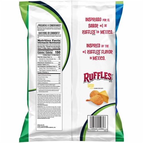 Ruffles Potato Chips Queso Cheese Flavor Snacks Bag Perspective: back