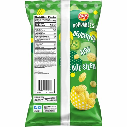 Lay's Poppables Potato Chips Snacks Creamy Jalapeño Flavor Bag Perspective: back