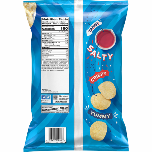 Lay's Potato Chips Salt & Vinegar Flavor Snacks Bag Perspective: back