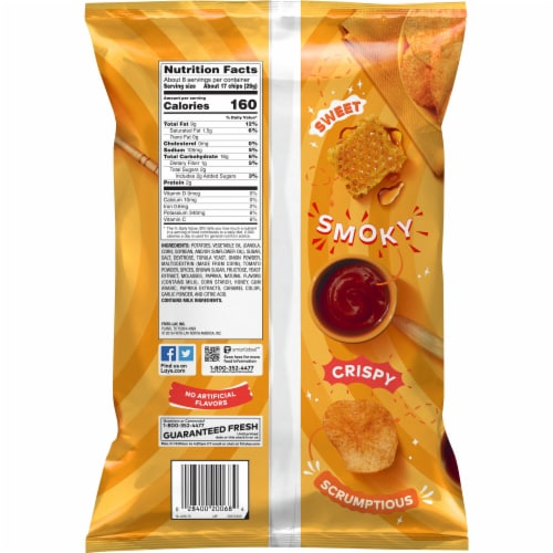Lay's Potato Chips Honey Barbecue Flavor Snacks Bag Perspective: back