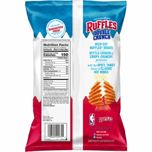 Ruffles Potato Chips Double Crunch Hot Wings Flavor Snacks 7.75 oz Bag Perspective: back