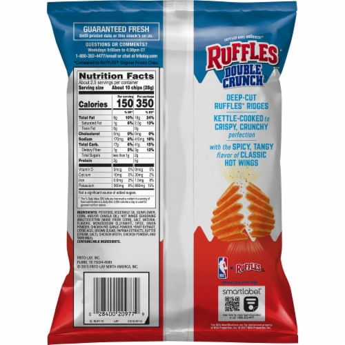 Ruffles Potato Chips Double Crunch Hot Wings Flavored Snacks Perspective: back