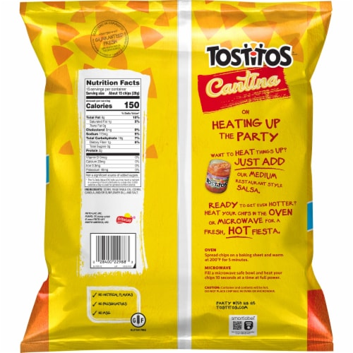 Tostitos Cantina Thin and Crispy Tortilla Chips Party Size Snacks Perspective: back