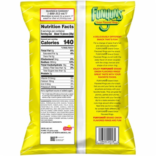 Funyuns Onion Flavored Rings Snacks Perspective: back