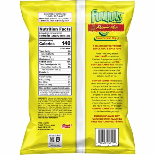 Funyuns Flaming Hot Onion Flavored Rings Snacks Perspective: back