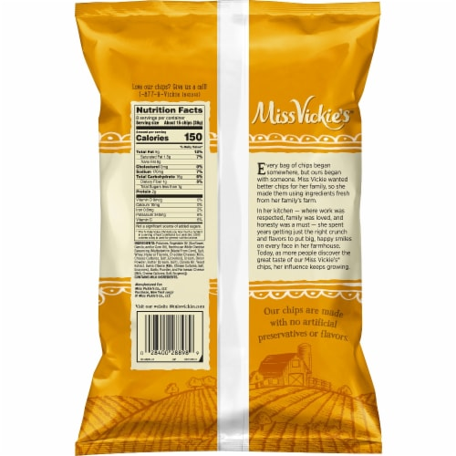 Miss Vickie's Farmhouse White Cheddar Kettle Cooked Potato Chips Snacks 8 oz Bag Perspective: back