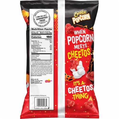 Cheetos Flamin' Hot Flavored Popcorn Perspective: back
