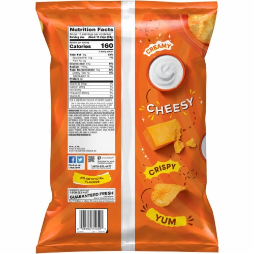 Lay's Potato Chips Cheddar & Sour Cream Flavor Snacks Party Size Bag Perspective: back