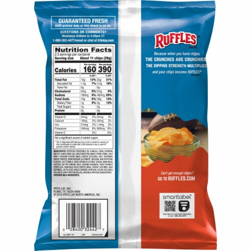 Ruffles® Cheddar & Sour Cream Potato Chips Perspective: back