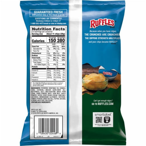 Ruffles Jalapeno Ranch Flavored Potato Chips Perspective: back