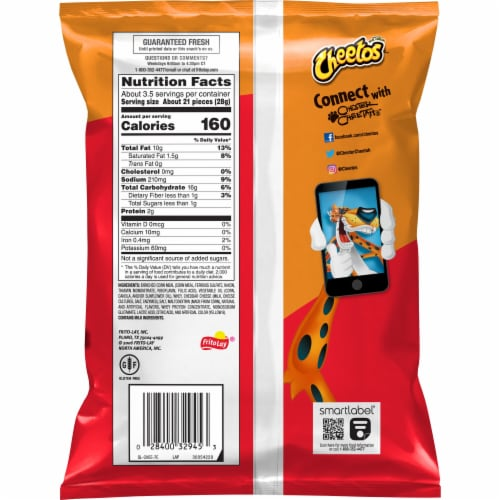 Cheetos Crunchy Cheese Flavored Snacks Perspective: back