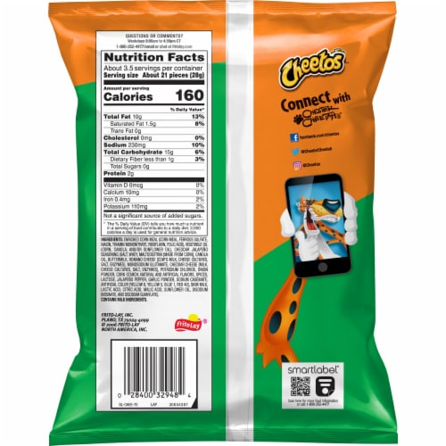 Cheetos® Crunchy Spicy Cheddar Jalapeno Flavored Cheese Snacks Perspective: back