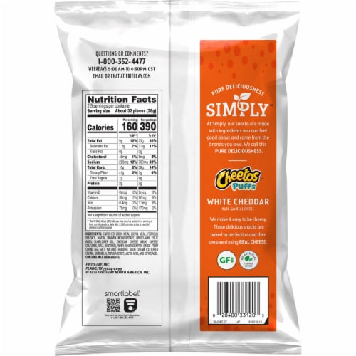 Cheetos Simply Puffs White Cheddar Flavored Cheese Puffs Snacks Perspective: back