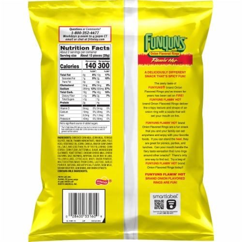 Funyuns Flamin' Hot Onion Flavored Rings Snacks Perspective: back
