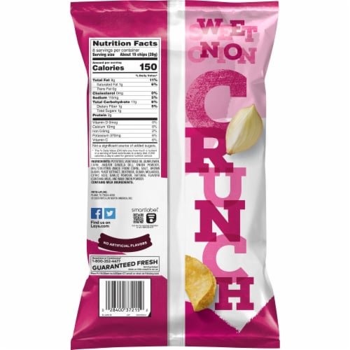 Lay's Kettle Cooked Potato Chips Maui Onion Flavor Bag Perspective: back