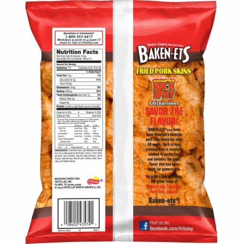 Baken-Ets Chicharrones Hot 'N Spicy Flavored Fried Pork Skins Perspective: back