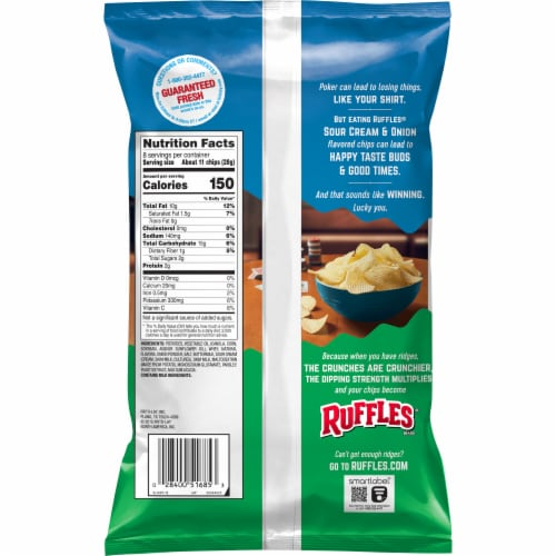 Ruffles Sour Cream & Onion Flavored Potato Chips Perspective: back