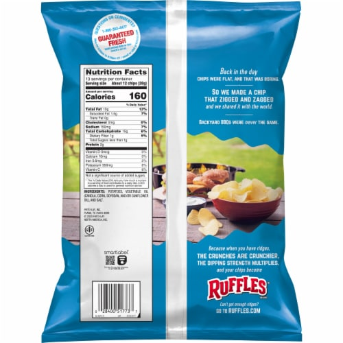 Ruffles Original Potato Chips Party Size Perspective: back