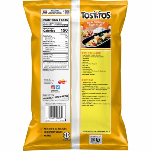 Tostitos White Corn Crispy Rounds Tortilla Chips Perspective: back