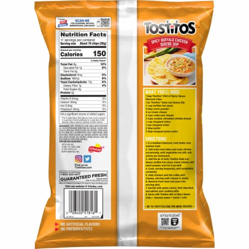 Tostitos Hint of Spicy Queso Flavored Tortilla Chips Perspective: back