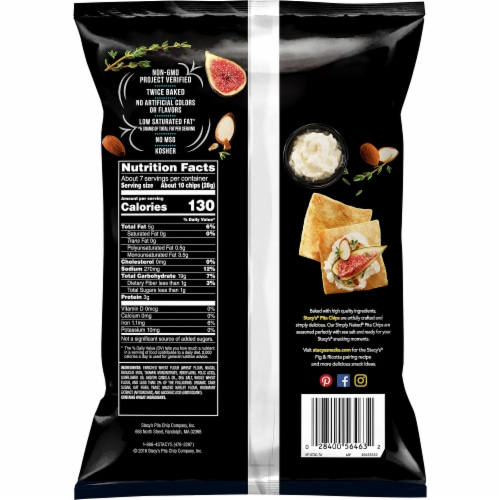 Stacy's Simply Naked Baked Pita Chips Snacks Perspective: back