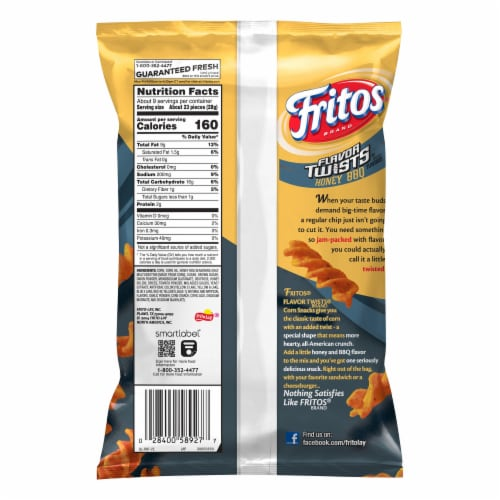Fritos Twists Honey BBQ Flavored Corn Chips Perspective: back