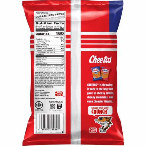 Cheetos Crunchy Cheese Snacks Perspective: back