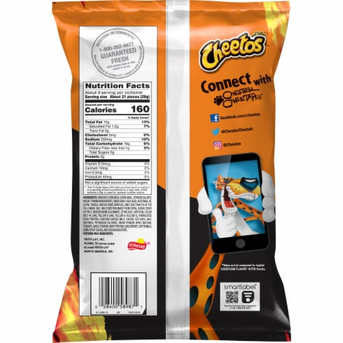 Cheetos Crunchy Xtra Hot Cheese Flavored Snacks Perspective: back