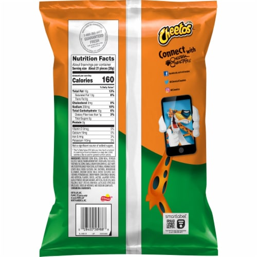 Cheetos Crunchy Cheddar Jalapeño Cheese Flavored Snacks Perspective: back