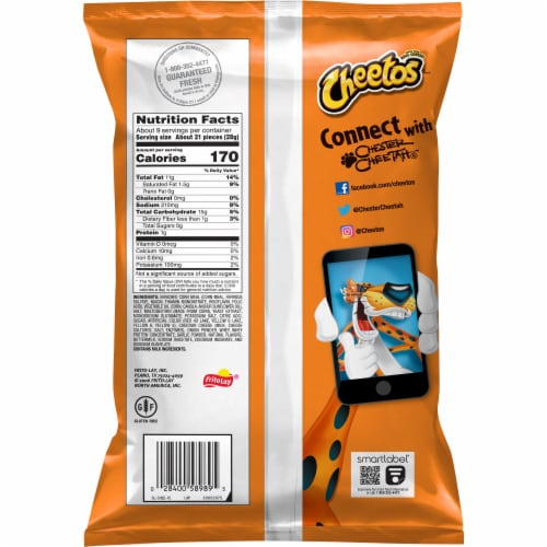 Cheetos Crunchy Flamin' Hot Cheese Flavored Snacks Perspective: back