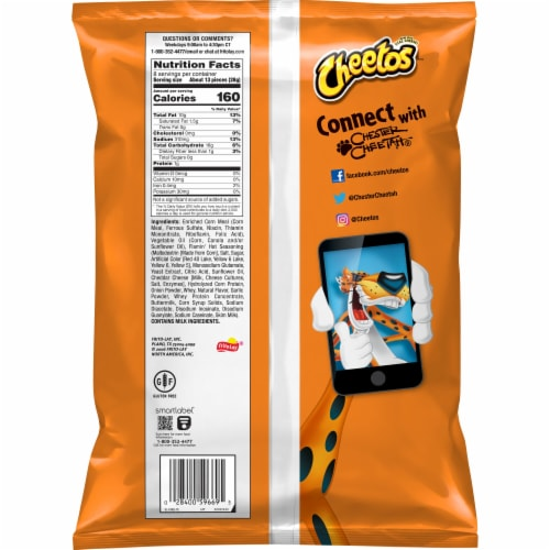 Cheetos Puffs Flamin' Hot Cheese Flavored Snacks Perspective: back