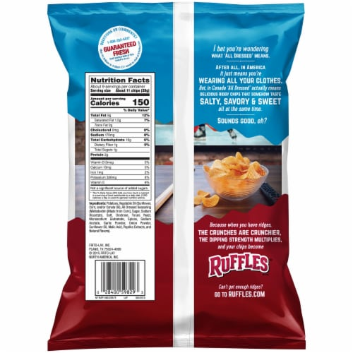Ruffles Potato Chips All Dressed Flavor Snacks Bag Perspective: back