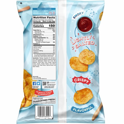 Lay's Potato Chips Lightly Salted Barbecue Flavor Snacks 7.75 oz Bag Perspective: back