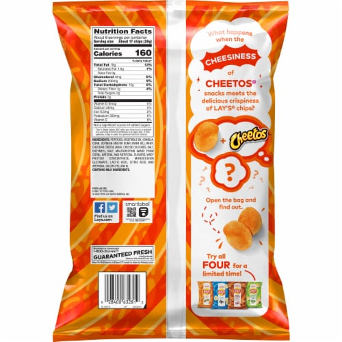 Lay's Cheetos Cheese Flavored Potato Chips Perspective: back