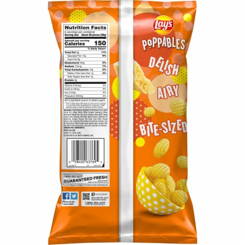 Lay's Poppables White Cheddar Potato Chips Snacks Perspective: back