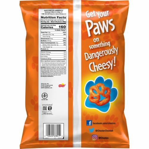 Cheetos Paws Cheese Flavored Snacks Perspective: back
